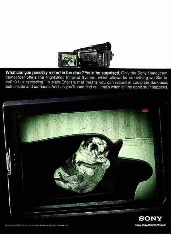 1990s Sony ad for its Handycam with night vision feature