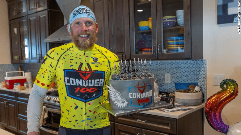 Lawrence celebrated his 45th birthday on the same day as completing 38 successive triathlons.